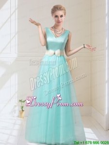 New Style V Neck Floor Length Dama Dresses with Bowknot for 2015 Fall