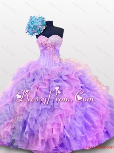 2015 Luxurious Quinceanera Dresses with Sequins and Ruffles