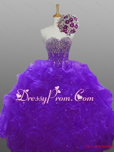 2015 Perfect Beaded Quinceanera Dresses with Rolling Flowers