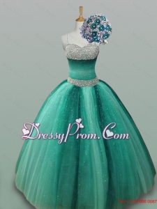 Popular Spaghetti Straps Beaded Quinceanera Gowns in Tulle for 2015