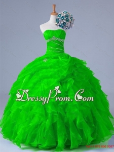 2015 Sexy Strapless Quinceanera Dresses with Beading and Ruffles
