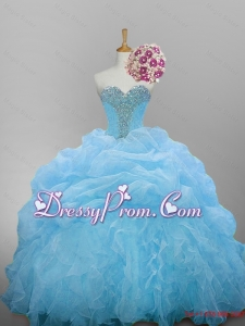 2015 Romantic Sweetheart Quinceanera Dresses with Beading and Ruffled Layers