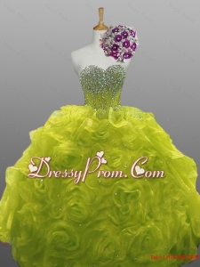 2015 Popular Beaded Quinceanera Dresses with Rolling Flowers