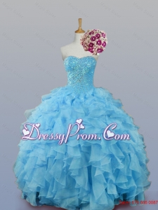 2015 Pretty Sweetheart Quinceanera Dresses with Ruffles