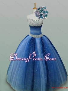 2015 Sweet Spaghetti Straps Beaded Quinceanera Dresses in Tulle
