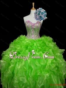 Luxurious Ball Gown Apple Green Quinceanera Dresses with Sequins and Ruffles