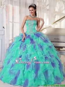 2016 Elegant Multi Color Strapless Floor Length Appliques Quinceanera Dresses with Beading