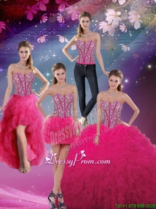 Pretty Sweetheart Beaded and Ruffles Detachable Quinceanera Dresses in Hot Pink