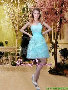 2016 New Style A Line Laced Dama Dresses with Appliques in Aqua Blue