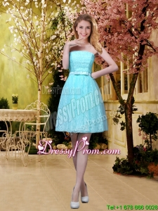 2016 Elegant A Line Laced Dama Dresses with Belt in Aqua Blue