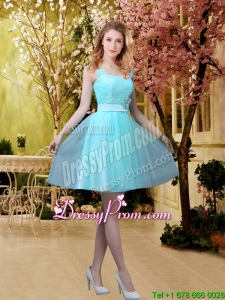 2016 Pretty Aqua Blue Short Dama Dresses with Belt