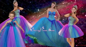 Popular Beaded Multi Color Quinceanera Dresses and Elegant Sweetheart Prom Dresses and Cute One Shoulder Little Girl Dresses