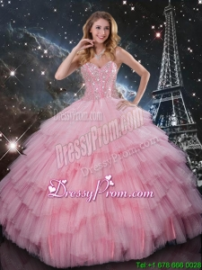 Comfortable Beaded Ball Gown Pink Sweet 16 Dresses with Floor Length