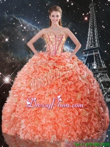 Delicate Beaded and Ruffles 2016 Quinceanera Dresses with Brush Train