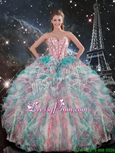 Exclusive Sweetheart Beaded and Ruffles Quinceanera Gowns in Multi Color for 2016