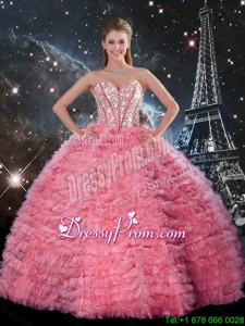 Latest Ball Gown Beaded Rose Pink Quinceanera Dresses with Ruffles for 2016