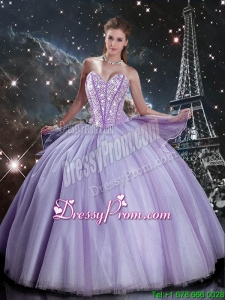 Suitable Sweetheart Lavender Tulle Sweet 16 Dresses with Beading for 2016