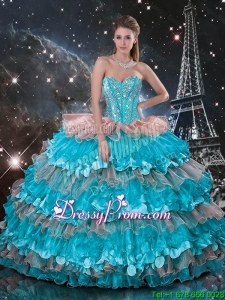 Sweetheart Quinceanera Dresses with Beading and Ruffled Layers for 2016 Spring