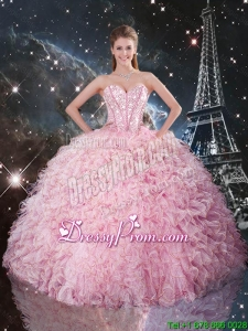Cheap Ball Gown Pink Quinceanera Dresses with Ruffles and Beading