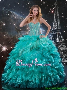 Cheap Brush Train Turquoise Quinceanera Dresses with Beading and Ruffles