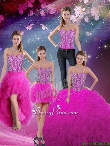 Cheap Detachable Sweetheart Ball Gown Beaded and Ruffles Quinceanera Dresses in Fuchsia