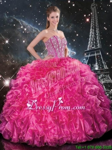 Cheap Floor Length Quinceanera Gowns with Beading and Ruffles for 2016