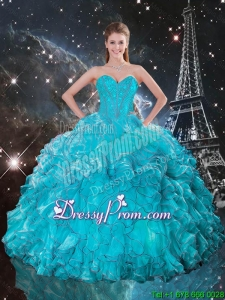 2016 Modern Sweetheart Teal Quinceanera Gowns with Ruffles and Beading