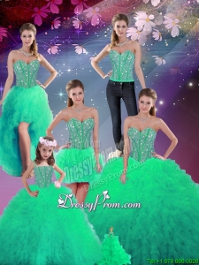 2016 Spring Gorgeous Sweetheart Beaded and Ruffles Detachable Sweet 16 Dresses in Turquoise