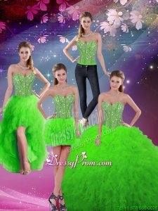 Beautiful Floor Length Beaded Detachable Quinceanera Gowns in Spring Green