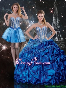 Beautiful Sweetheart Detachable Quinceanera Dresses with Beading and Pick Ups for 2016 Summer