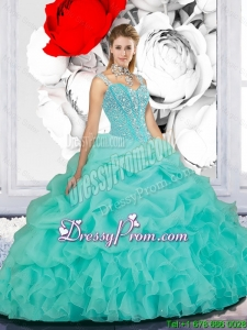 Cheap Beaded Ball Gown Straps Sweet 16 Dresses in Turquoise for 2016