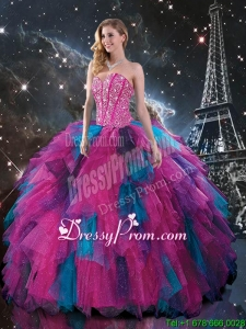 Cheap Multi Color Sweetheart Quinceanera Dresses with Beading