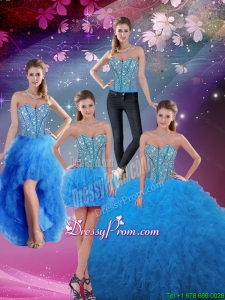 Cheap Sweetheart Floor Length Beaded Detachable Quinceanera Dresses