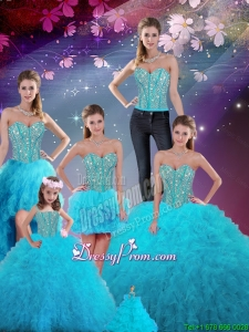 Detachable Ball Gown New Quinceanera Dresses with Beading and Ruffles