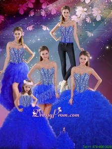 Detachable Beaded and Ruffles Sweetheart Wonderful Sweet 16 Dresses in Royal Blue for 2016