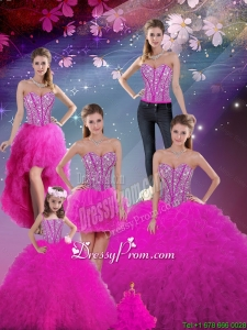 Detachable Sweetheart Fuchsia Beautiful Quinceanera Dresses with Beading and Ruffles for 2016