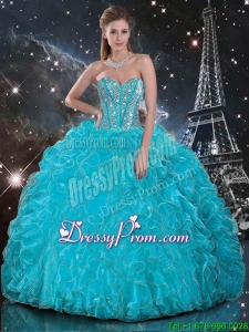 Fabulous Aqua Blue Sweetheart Quinceanera Gowns with Beading and Ruffles