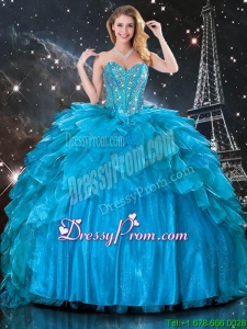 Fabulous Ball Gown Beaded Detachable Quinceanera Gowns in Blue