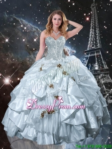 Modern 2016 Sweetheart Appliques Quinceanera Dresses in White