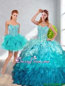 Modern 2016 Sweetheart Detachable Quinceanera Dresses in Multi Color