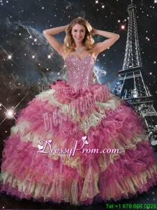 Perfect Beaded Multi Color Quinceanera Dresses with Ruffled Layers