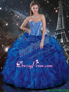 Popular Royal Blue Quinceanera Dresses with Beading and Ruffles for 2016 Fall