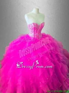Fashionable Ball Gown Ruffles Sweet 16 Gowns with Beading