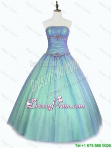 Perfect Beaded Floor Length Sweet 16 Dresses with Strapless