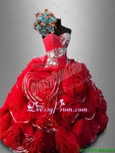 Cheap Rolling Flowers and Beaded Sweet 16 Gowns in Red