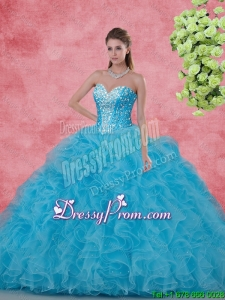 2015 Fall Elegant Ball Gown Beaded Quinceanera Dresses in Aqua Blue