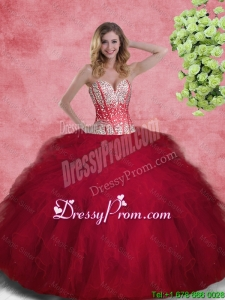 2015 Fall Spring Gorgeous Ball Gown Sweetheart Quinceanera Gowns with Beading and Ruffles