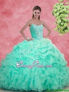 2016 Spring Luxurious Apple Green Quinceanera Gowns with Beading and Ruffles