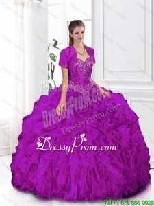 2015 Fall Most Popular Fuchsia Sweetheart Quinceanera Gowns with Beading