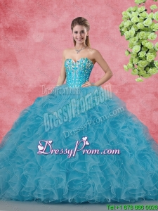 2016 Spring Wonderful Ball Gown Quinceanera Gowns with Beading and Ruffles